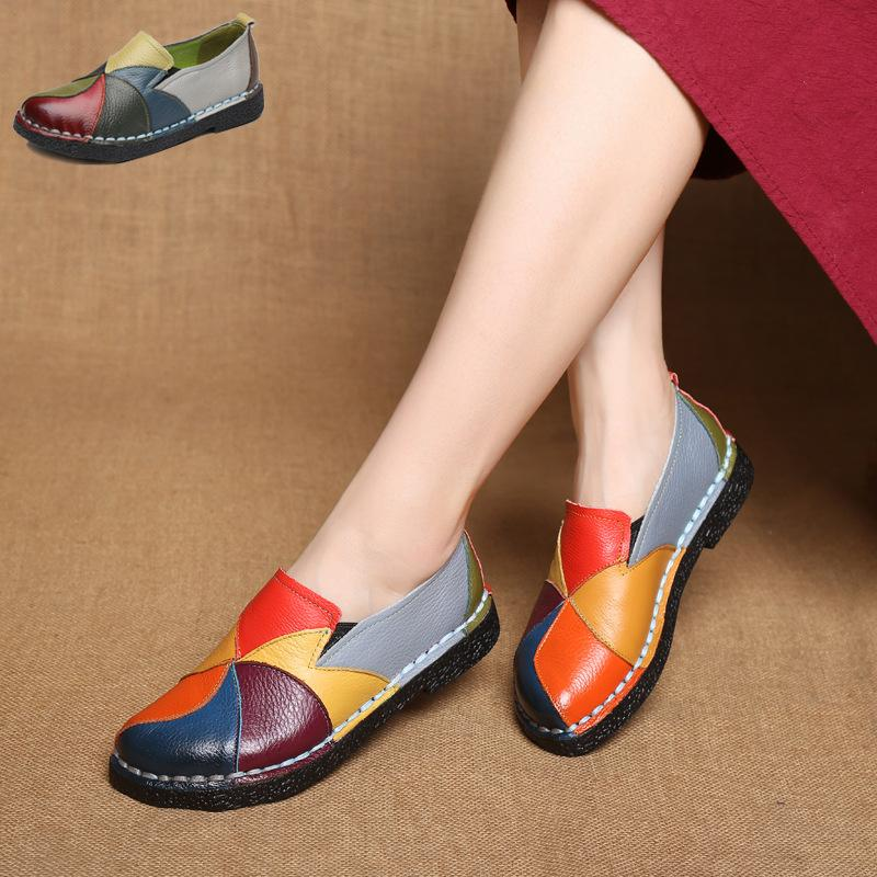 Retro Splicing Coloful Soft Genuine Leather Flat Shoes
