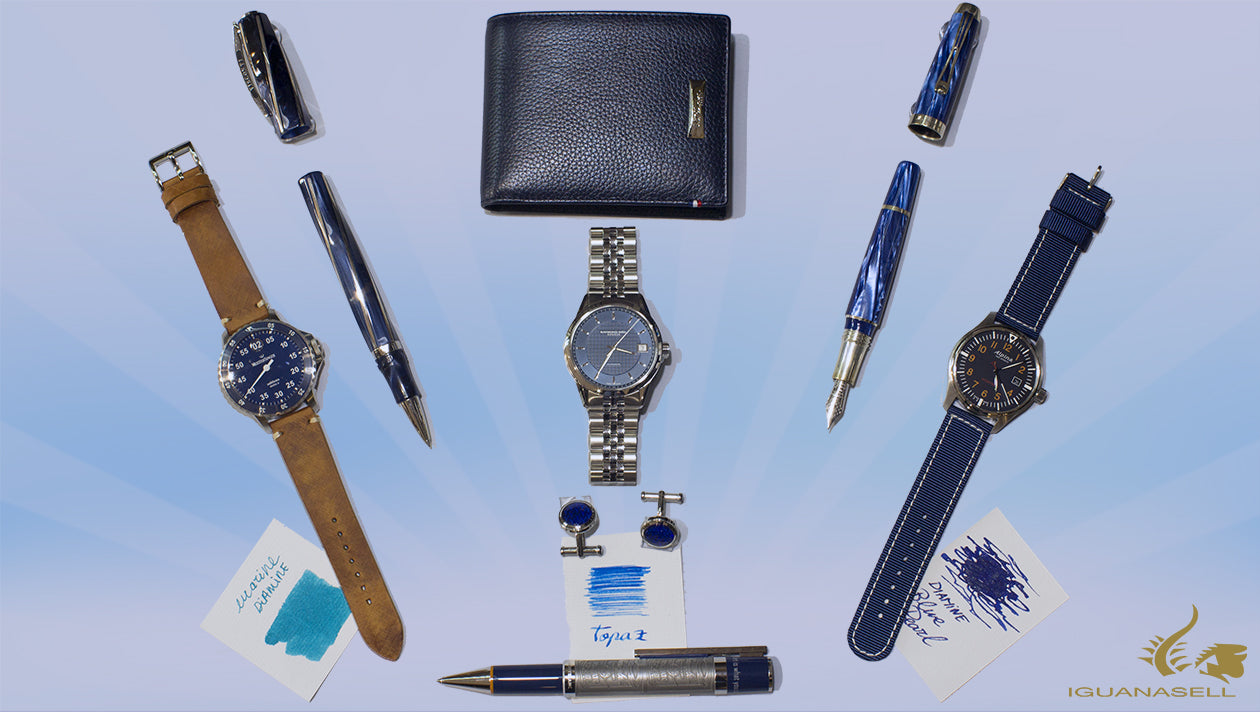 blue fountain pen automatic watch