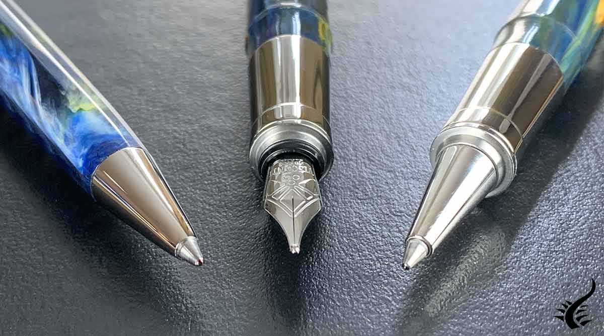 Luxury fountain pen, roller pen and ballpoint