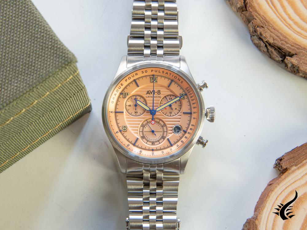 AVI-8 Flyboy Lafayette Chronograph Quartz Watch, Salmon, 42 mm, AV-4076-44
