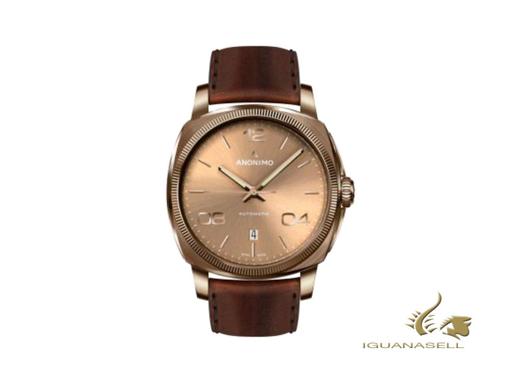 Anonimo Epurato Automatic Watch, Bronze, Gold, 42mm, Leather, AM-4000.04.444.W88