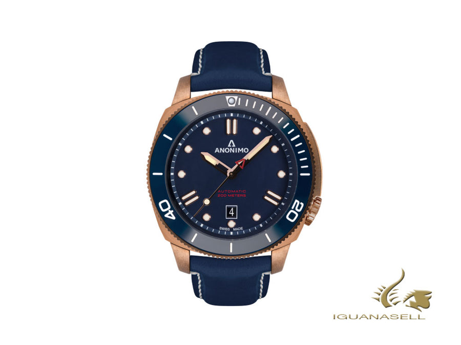 Anonimo Nautilo Automatic Watch, Bronze, Blue, 44,4 mm, AM-1002.07.005.A07