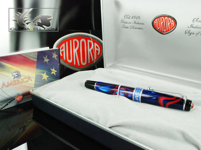 Aurora America Rollerball Pen, Limited Edition, Marbled resin, Chrome trims