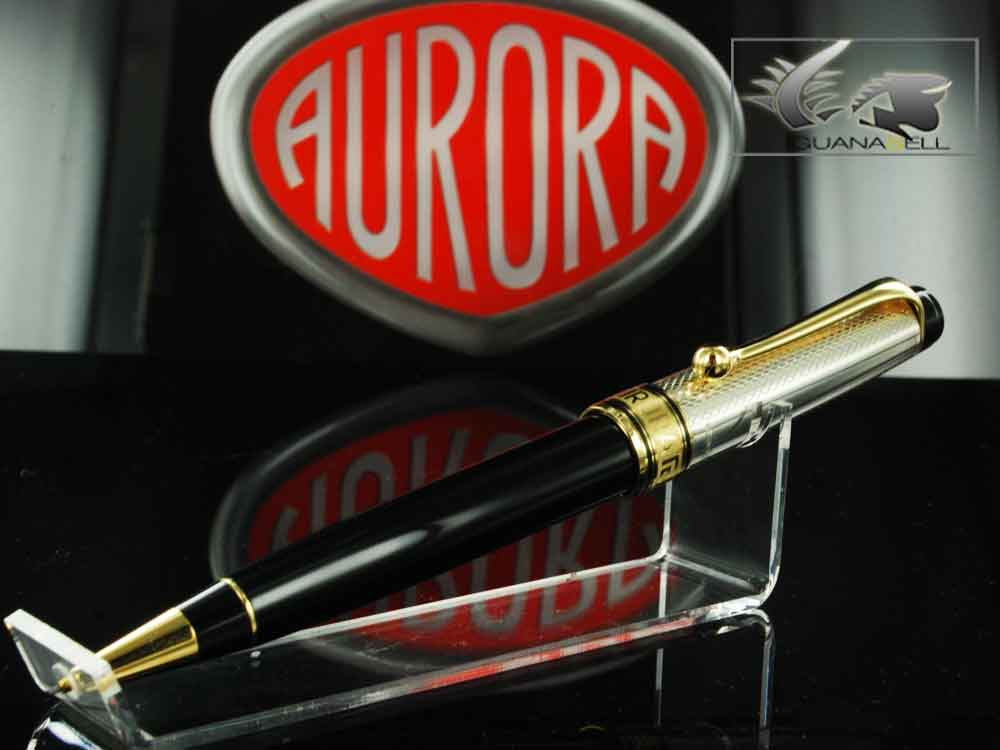 Aurora Optima Mechanical pencil, .925 Silver and Resin, Black, Gold trim 959