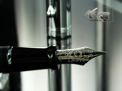 Aurora Talentum Fountain Pen - Black Resin & Chrome Cap D11C