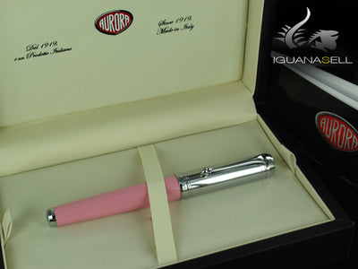 Aurora Talentum Roller Pen - Pink Resin and Chrome Cap - D71CP