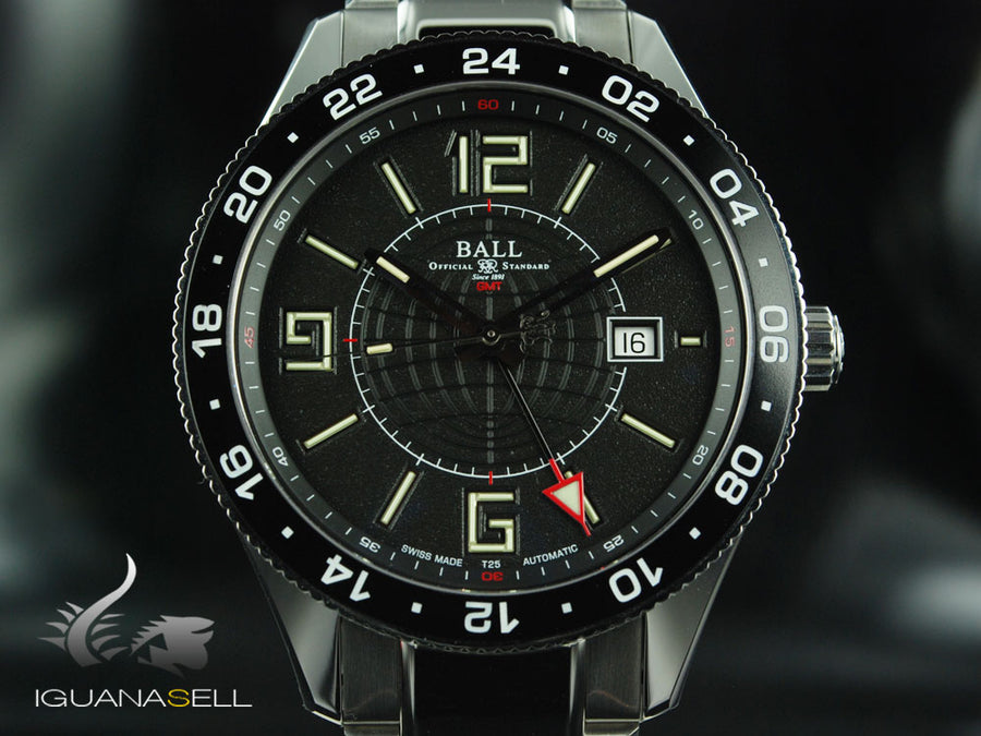 Ball Engineer Master II Pilot GMT Watch, Ball RR1201, Black, Steel bracelet,