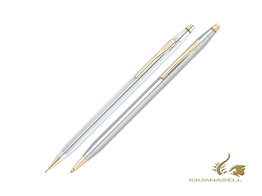 Cross Classic Century Medalist Ballpoint pen & Pencil Set, Chrome, Silver