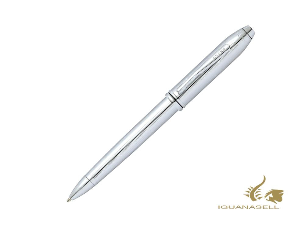 Cross Townsend Ballpoint pen, Steel, Silver, Polished, Chrome Trim, 532TW