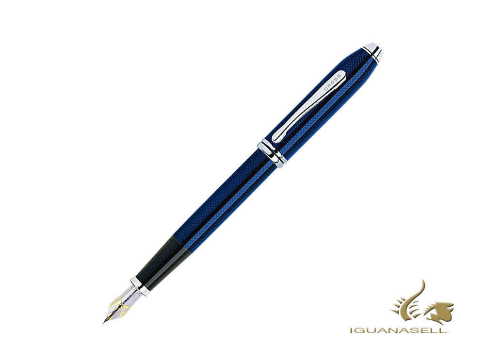 Cross Townsend Fountain Pen, Lacquer, Blue, Polished, Rhodium trim