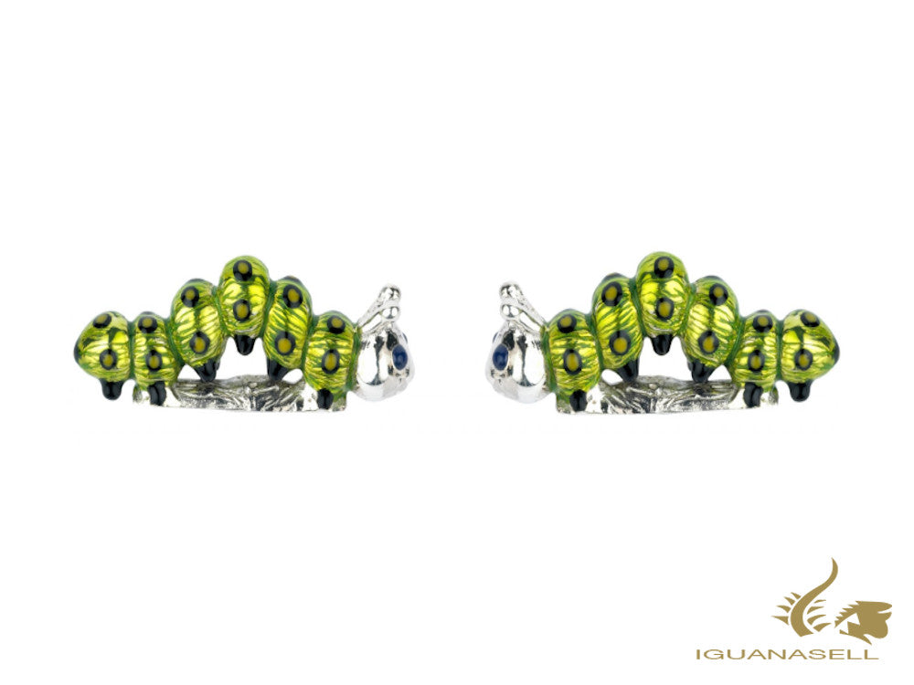 Deakin & Francis Animals Caterpillar Cufflinks, Silver .925, Green, C1535S1310