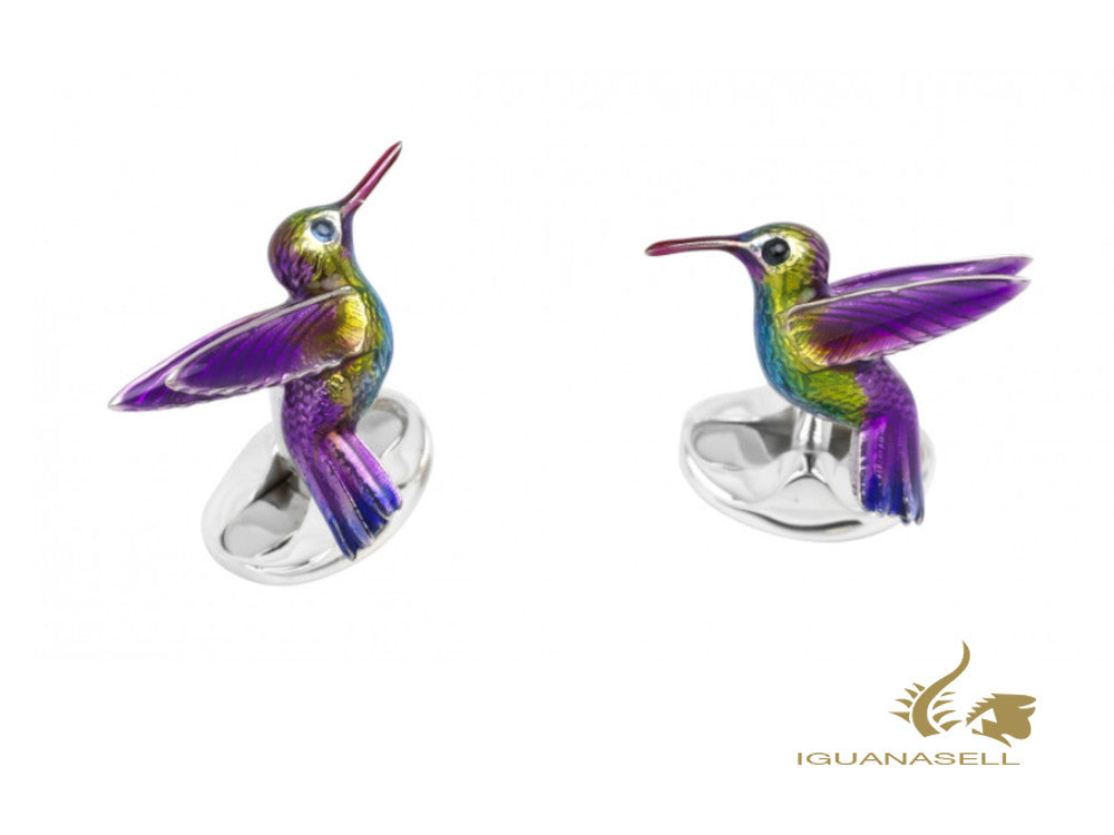 Deakin & Francis Animals Hummingbird Cufflinks, Silver .925, Purple, C1530X0002