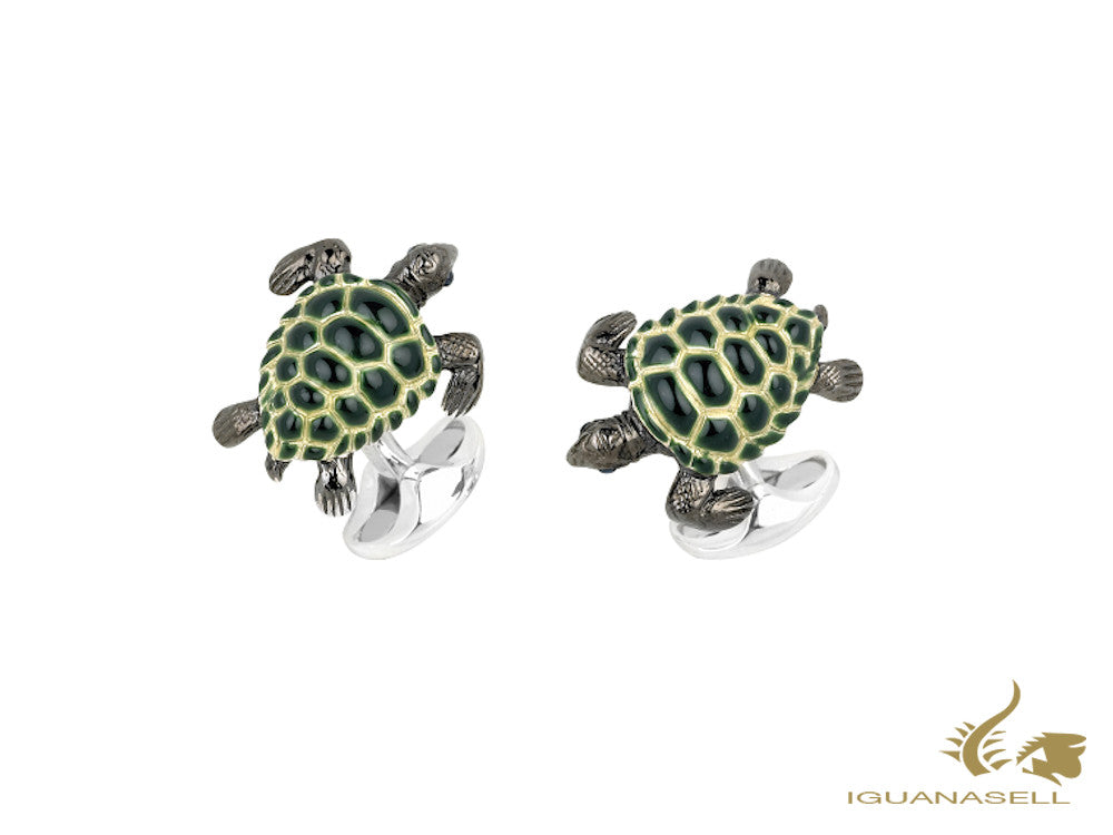 Deakin & Francis Animals Turtle Cufflinks, Silver .925, Green, C1694S13