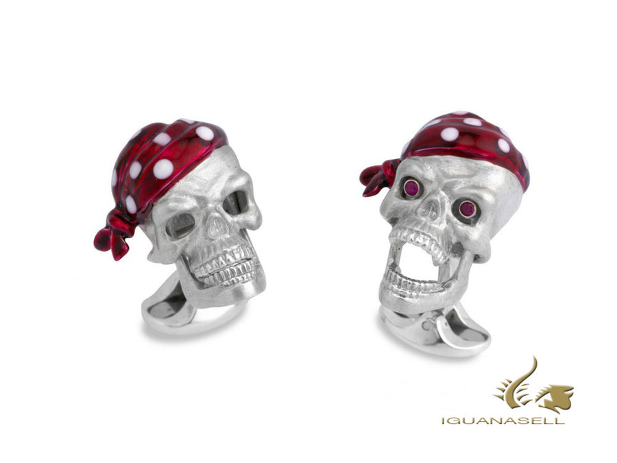"Deakin & Francis ""Pirate Skull"" Cufflinks, Ruby eyes, C1584S0823"