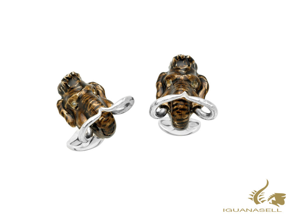 Deakin & Francis Woolly Mammoth Cufflinks, Silver .925, Brown, C1444X0003