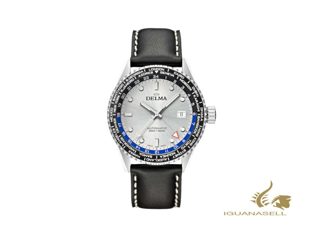 Delma Diver Cayman Worldtimer Automatic Watch, Silver, 42 mm, 41601.710.6.061