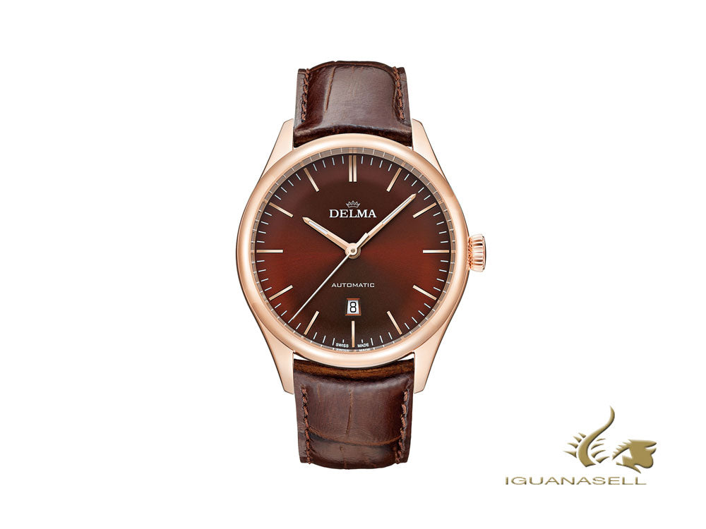 Delma Dress Heritage Automatic Watch, Brown, 43 mm, Leather, 43601.688.6.101