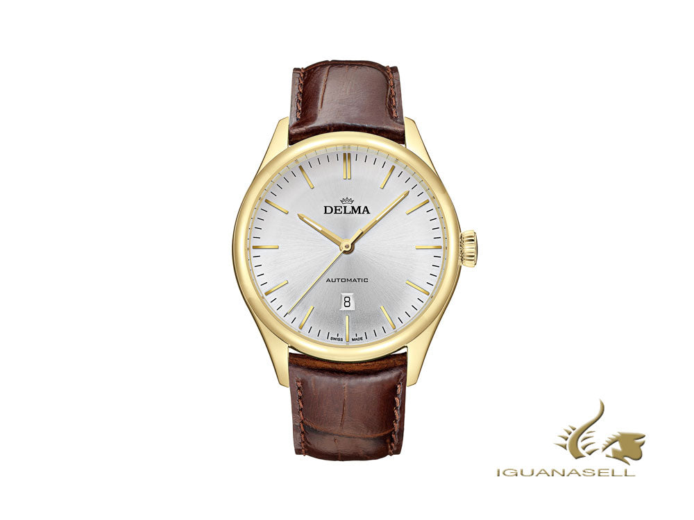 Delma Dress Heritage Automatic Watch, Silver, 43 mm. Leather, 42601.688.6.061