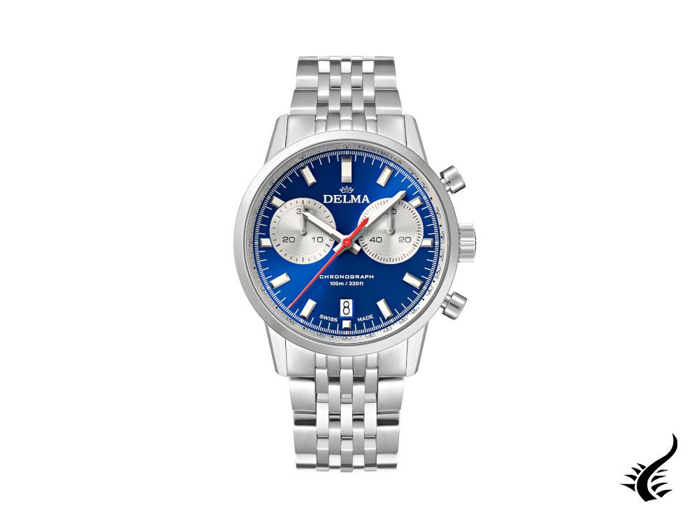 Delma Racing Continental Quartz Watch, Ronda Z50, Blue, 42 mm, 41701.704.6.041