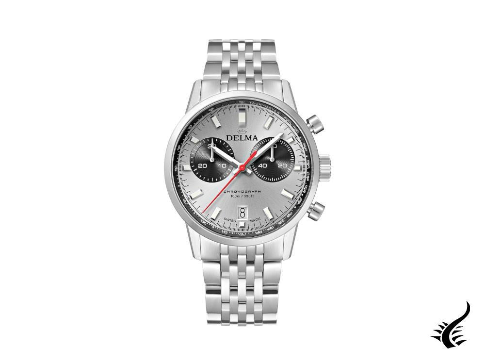 Delma Racing Continental Quartz Watch, Ronda Z50, Silver, 42 mm, 41701.704.6.061