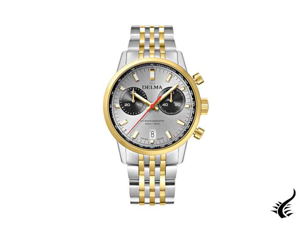 Delma Racing Continental Quartz Watch, Ronda Z50, Silver, 42 mm, 52701.704.6.061