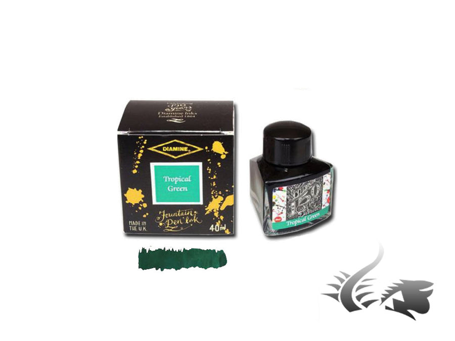 Diamine 1864 Tropical Green, 150th Anniversary Ink Bottle, 40ml, Crystal