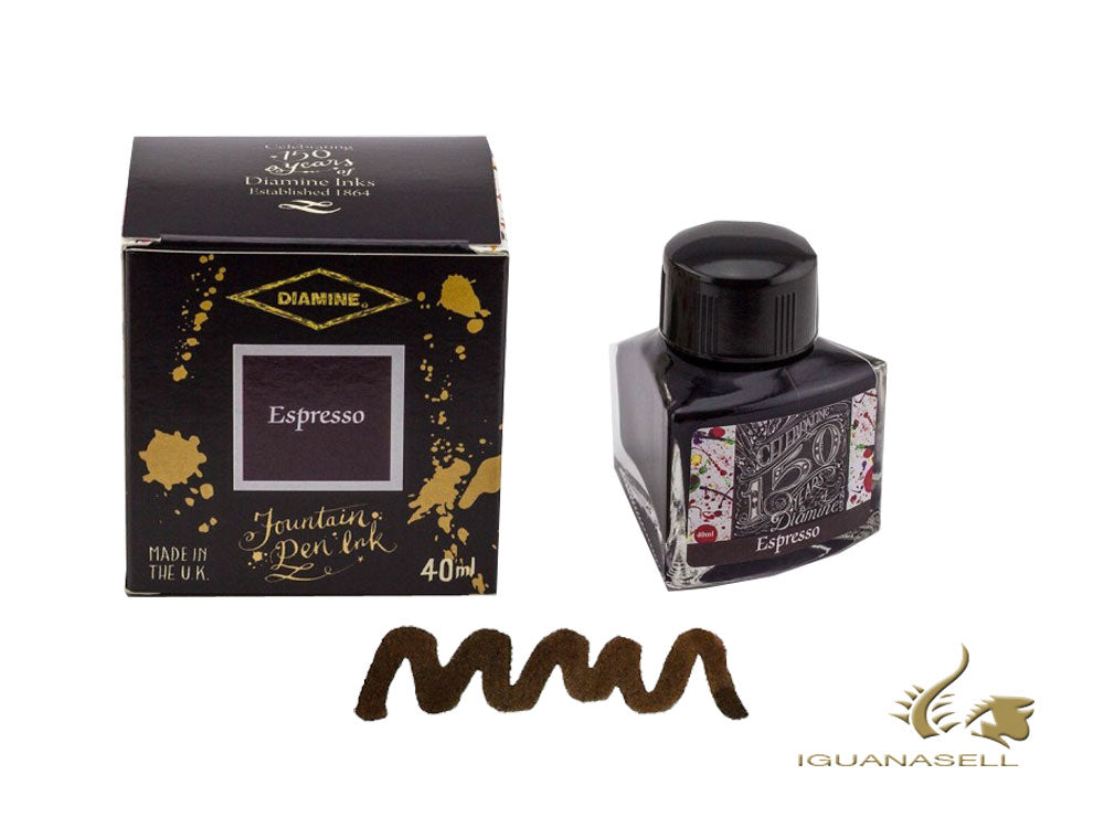 Diamine Ink Bottle, 40ml., Espresso, Crystal