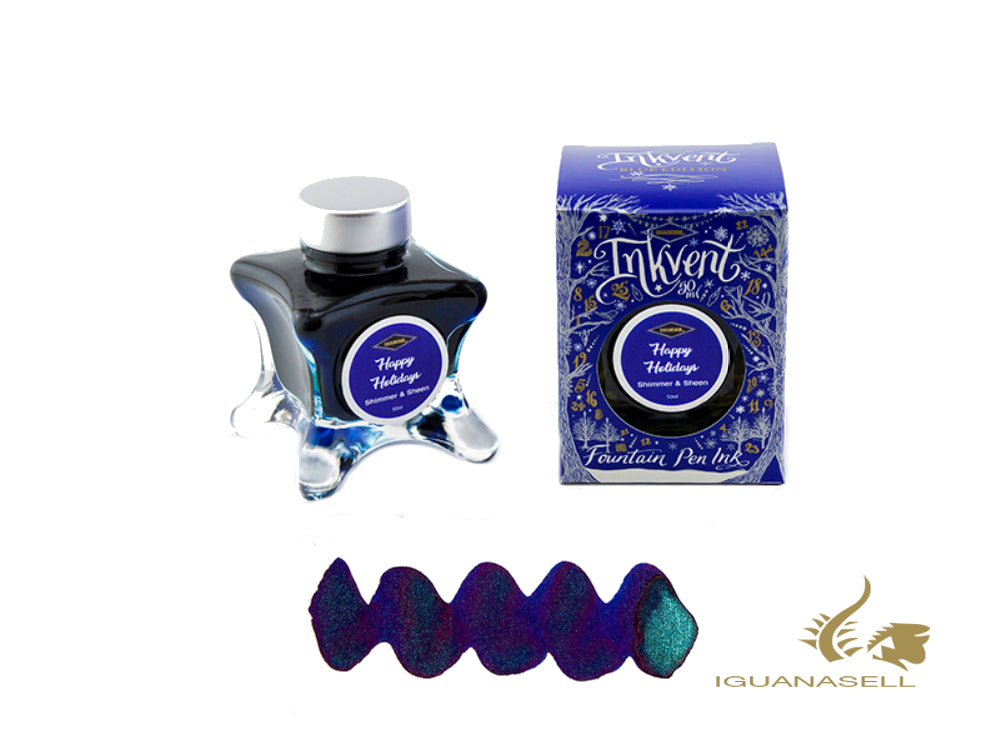 Diamine Ink Bottle Happy Holiday, Ink Vent Blue, 50ml, Blue