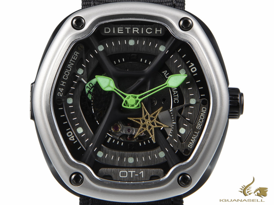 Dietrich OT-1 Automatic Watch, PVD, Grey, 46mm, 5 atm, Nylon strap, ED15 OTC-A01