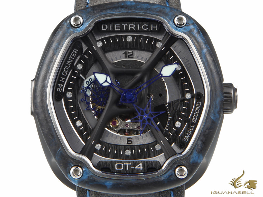 Dietrich OT-4 Automatic Watch, PVD, Grey & Blue, 46 mm, Nubuck, Forged Carbon