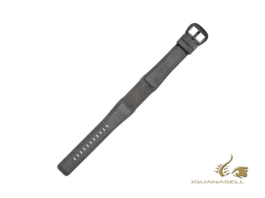 Dietrich Tailored Strap, Nubuck, Grey/Blue, 22mm, Buckle, Stainless Steel