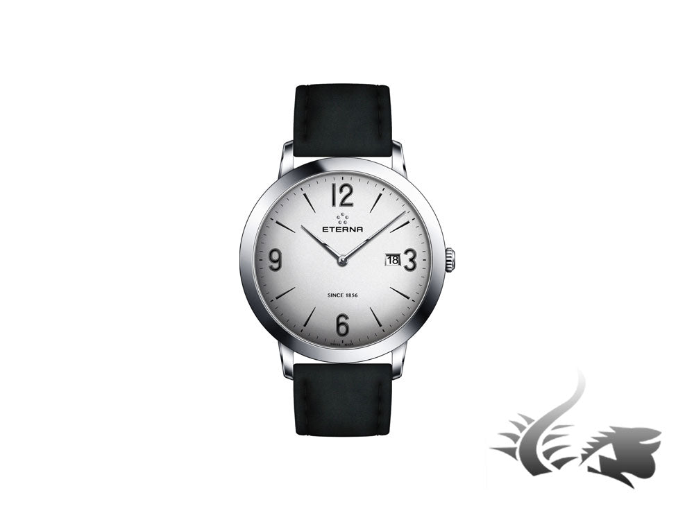 Eterna Eternity Gent Quartz watch, ETA 955.112, 42mm., Silver, Leather strap
