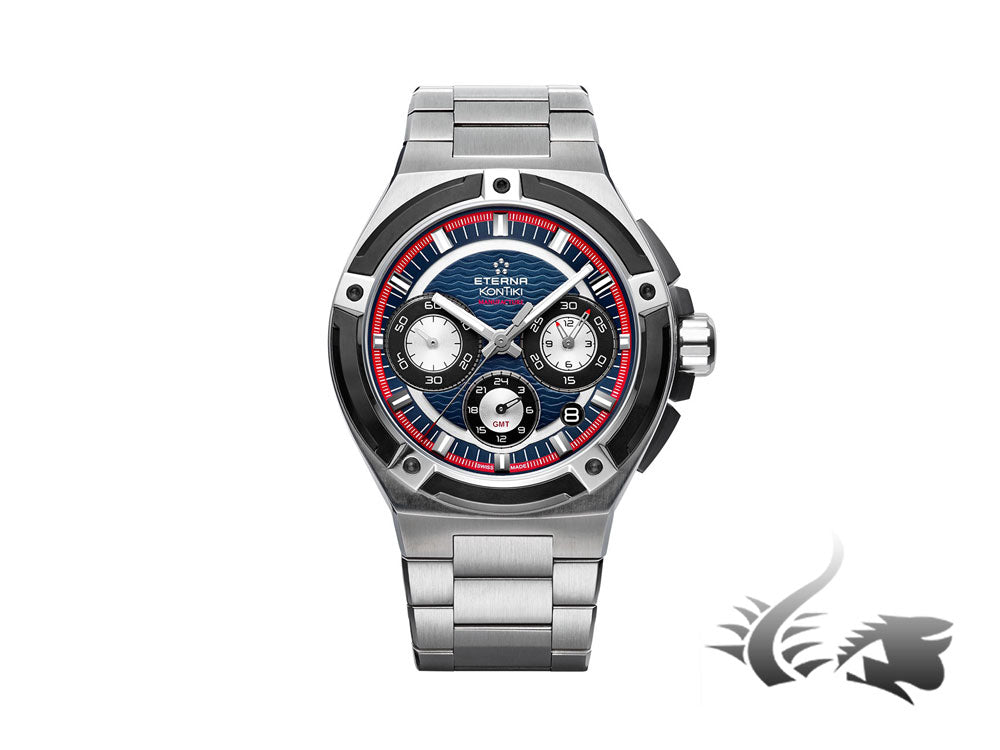 Eterna Royal KonTiki Chrono Flyback GMT Watch, Blue, Steel bracelet, Lim.Edition