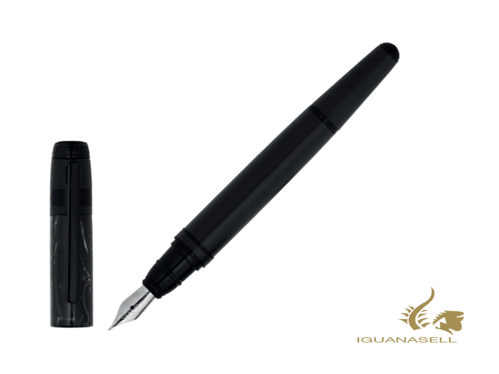 Hugo Boss Fusion Marble Fountain Pen, Black Chrome, Black, HSI0762A