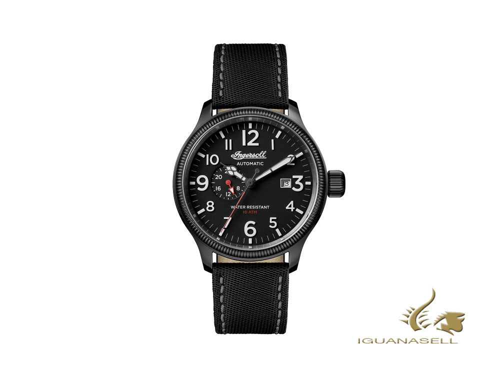 Ingersoll Apsley Automatic Watch, PVD, 24h, Black, Nylon, 45 mm, I02801