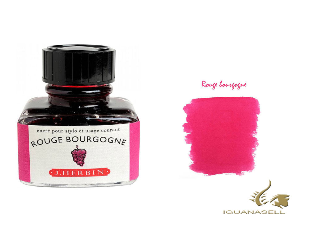 J. Herbin Ink Bottle, Rouge Bourgogne, 30ml, Glass, 13028T