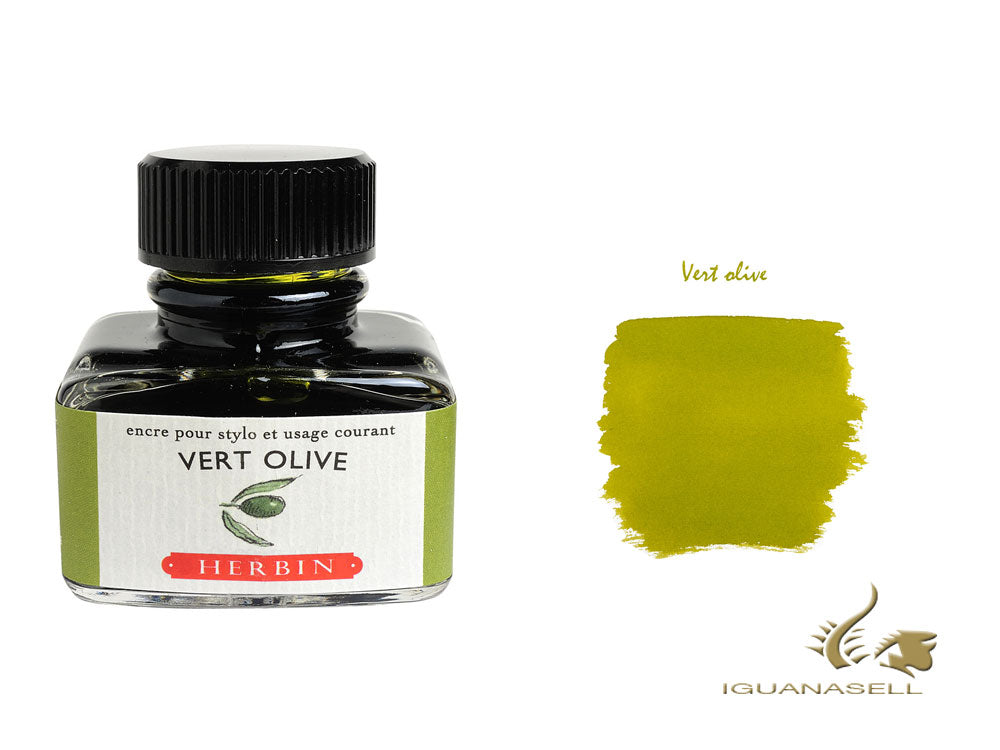 J. Herbin Ink Bottle, Vert Olive, 30ml, Glass, 13036T