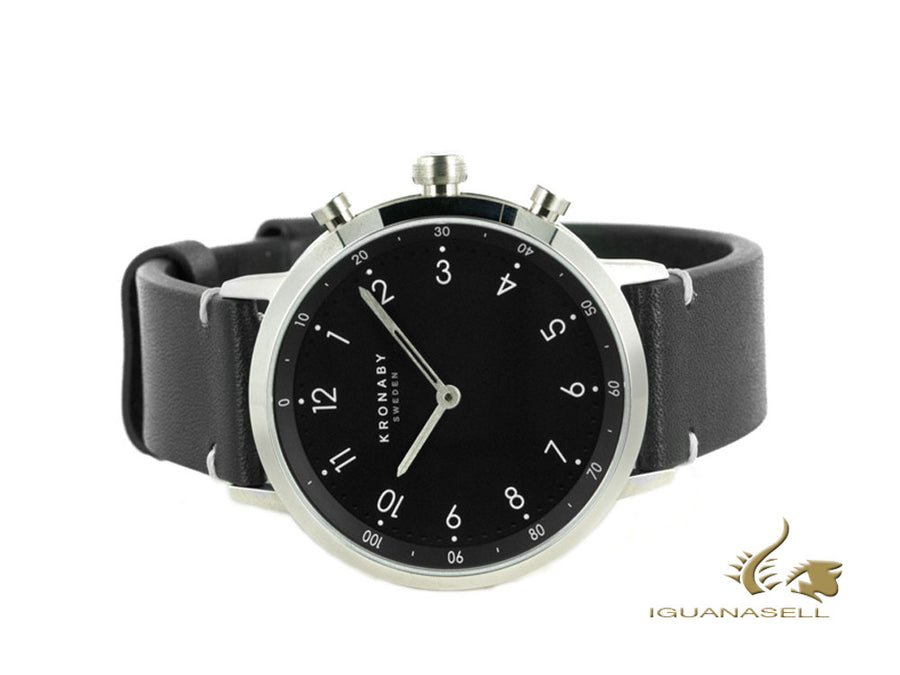 Kronaby Nord Quartz Watch, Black, 41 mm, 10 atm, Leather Strap, A1000-3126