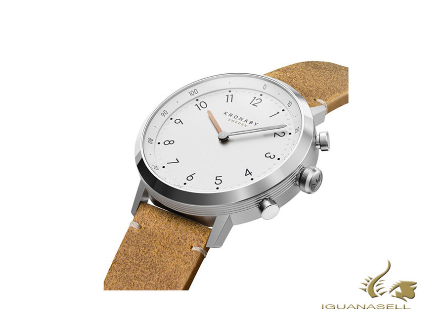 Kronaby Nord Saldi Quartz Watch, White, 41 mm, 10 atm, Leather, A1000-3128