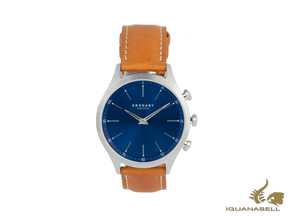 Kronaby Sekel Saldi Quartz Watch, Blue, 41 mm, 10 atm, Leather Strap, A1000-3124