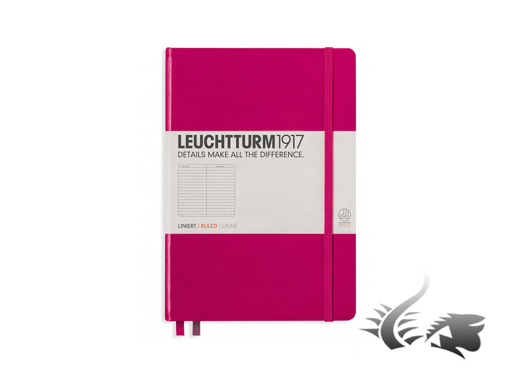 Leuchtturm1917 Hardcover Notebook, Medium (A5), Ruled, Berry, 249 pages, 344807