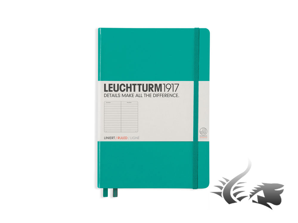 Leuchtturm1917 Hardcover Notebook, Medium (A5), Ruled, Emerald, 249 pages