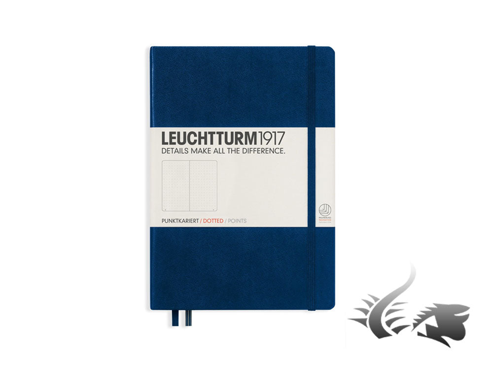 Leuchtturm1917 Hardcover Notebook, Medium (A5), Dotted, Navy Blue, 249 pages