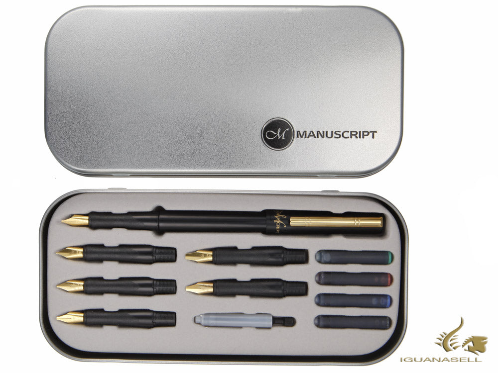 Manuscript Deluxe Calligraphy set, Black, Steel, Polished, MC1155-A