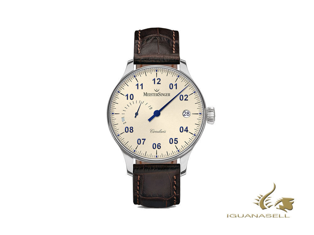 Meistersinger Circularis Power Reserve Manual Watch, MSH02, Ivory, 120 Hours
