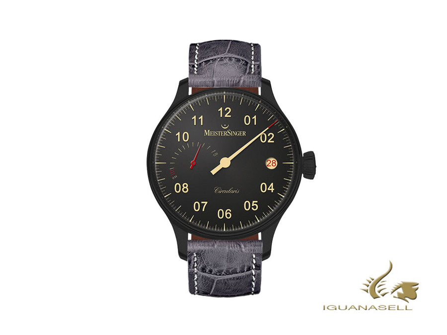 Meistersinger Circularis Power Reserve Black Line Automatic Watch, Black, 43 mm
