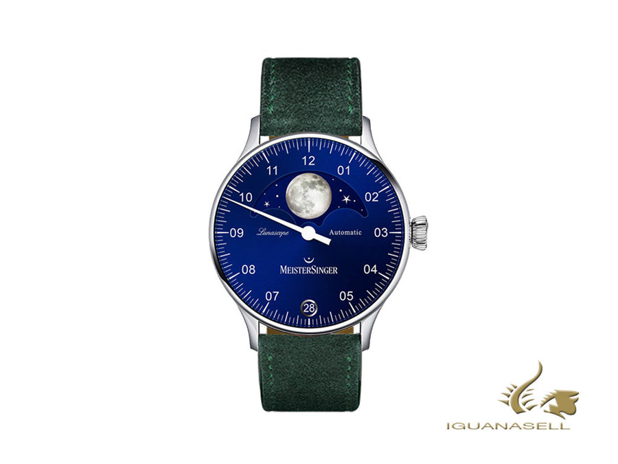 Meistersinger Lunascope Blue Automatic Watch, 40 mm, Green, Day, LS908-SV17