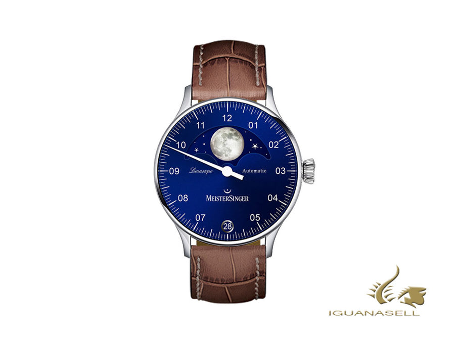 Meistersinger Lunascope Blue Automatic Watch, 40 mm, brown, Day, LS908-SG02