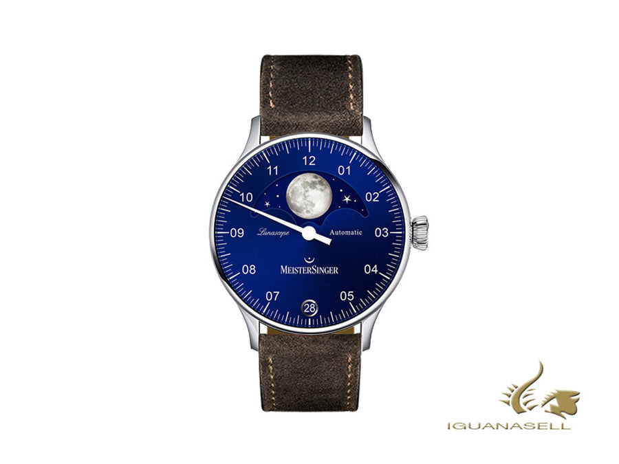 Meistersinger Lunascope Blue Automatic Watch, 40 mm, brown, Day, LS908-SV02