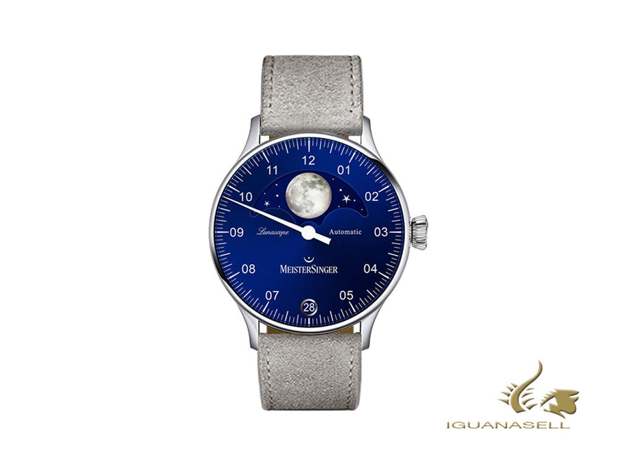 Meistersinger Lunascope Blue Automatic Watch, 40 mm, grey, Day, LS908-SV06